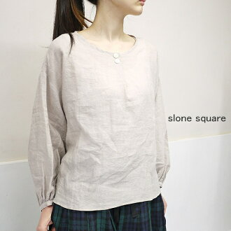 I cook the slone square 6076 スロンスクエア east and digest the blouse point with the tuck button in front of linen
