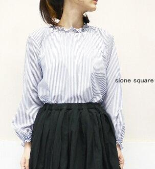 slone square 7049 スロンスクエアローンストライプシャーリングフリルブラウスポイント digestion