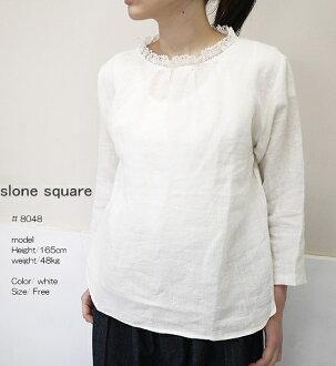 slone square 8048 スロンスクエアフレンチリネンレースフリルブラウス