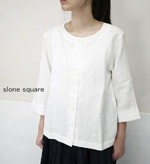 slone square 8061 スロンスクエアフレンチリネンマンダリンスリーブ fastening in front blouse point digestion