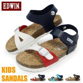 EDWIN サンダル キッズ ジュニア フラットサンダル エドウィン ビルケン風 コンフォートサンダル 男の子 女の子 EW9834