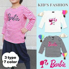バービー 長袖Tシャツ ロンT 子供服 キッズ ベビー服 ロングTシャツ 女の子 カットソー かわいい おしゃれ Barbie 504 505 507 607