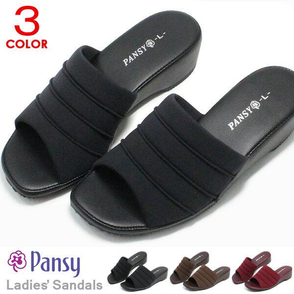 パンジー オフィスサンダル ナースサンダル レディース 黒 O脚 外反母趾 軽量 歩きやすい ぺたんこ Pansy 6805