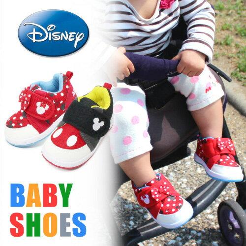 ミッキーマウス ベビーシューズ キッズ スニーカー 靴 男の子 女の子 キッズシューズ ディズニー ミッキー ミニー DS0180