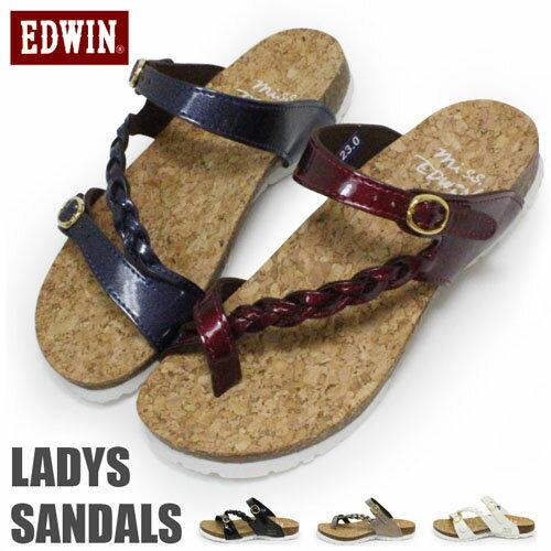 EDWIN サンダル レディース ビルケン風 ラットサンダル フットベットサンダル EW9456 EW9457 コンフォートサンダル