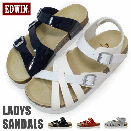 EDWIN サンダル レディース ビルケン風 フットベットサンダル フラットサンダル オフィス EW9458 EW9459 コンフォートサンダル