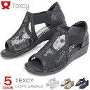 アシックス テクシー サンダル レディース ウェッジソール サイドゴア チュール 婦人靴 靴 ASICS TEXCY TL-2875