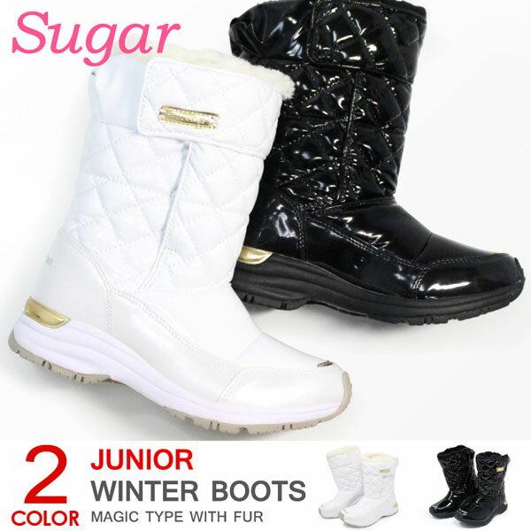 スノーブーツ キッズ ブーツ 防水 防寒 女の子 子供 ジュニア スパイク付き 滑り止め ムーンスター シュガー WPJ53SP