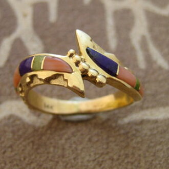 Calvin Begay and Indian jewelry / 14 K inlay amp; gold rings/
