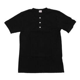 ヘルスニット(Healthknit) tシャツ 半袖 【多少の傷汚れありの為大奉仕】ベーシックワッフルヘンリーネック ショートスリーブ 601S-BLACK (Men's)