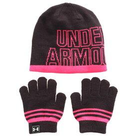 アンダーアーマー(UNDER ARMOUR) ガールズ ニットビーニー手袋セット 1316527 BLK/PTP (Jr)