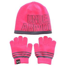 アンダーアーマー(UNDER ARMOUR) ガールズ ニットビーニー手袋セット 1316527 PTP/APG (Jr)