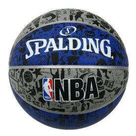 【9/20はエントリーで会員ランク別P10倍】スポルディング(SPALDING) バスケットボール 7号球 (一般 大学 高校 中学校) 男子用 NBA グラフィティ ブルー 83-176Z 自主練 (メンズ)