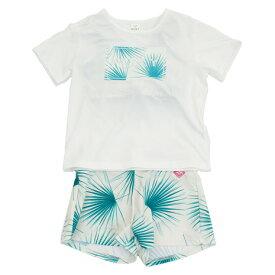 【8月11日までエントリーででP5倍~】ロキシー(ROXY) 水着 女の子 ジュニア ラッシュTシャツ付き ボタニカル柄 3点セット MINI PALM DANCE 19SPTSW191103WHT (Jr)