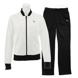 プーマ(PUMA) トレーニングジャージ 上下セット ホワイト×ブラック(ジャケット・パンツ) (Lady's)