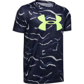 【6/5 24h限定 エントリーでP10倍〜】アンダーアーマー(UNDER ARMOUR) ボーイズ テック ビッグロゴ プリント 半袖Tシャツ 1351851 BIK/XRY AT オンライン価格 (Jr)