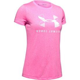 アンダーアーマー(UNDER ARMOUR) ガールズ グラフィック ツイスト ビッグロゴ Tシャツ 1351637 PCM/WHT AT 半袖 オンライン価格 (キッズ)
