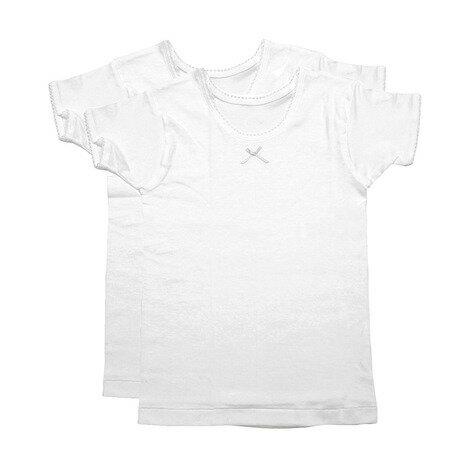 グンゼ(GUNZE) ガールズ 半袖Tシャツ 2枚組 AF8460B WHT (Jr)
