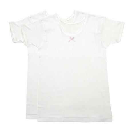 グンゼ(GUNZE) ガールズ 半袖Tシャツ 2枚組 AF8465B WHT (Jr)