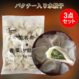 山東香菜水餃子3点セット パクチー入り シャンツァイ味 中国水餃子 厚皮 中華名点 中華食材 冷凍食品 1kg×3