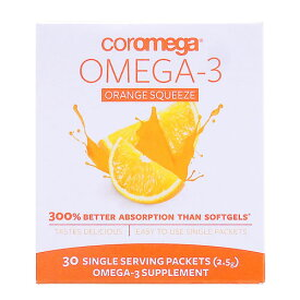 コロメガ オメガ3 スクィーズ (EPA・DHA含有)※オレンジ 2.5g×30袋 [サプリメント/健康サプリ/サプリ/DHA/EPA/粉末/栄養補助/栄養補助食品/アメリカ/袋/サプリンクス]