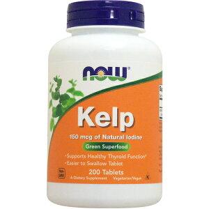 ケルプ(天然ヨウ素 ヨード 150mcg含有) 200粒 サプリメント 健康サプリ サプリ ミネラル ヨウ素 now ナウ 栄養補助 栄養補助食品 アメリカ タブレット