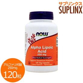 [ お得サイズ ] アルファリポ酸 250mg 120粒[サプリメント/美容サプリ/サプリ/アルファリポ酸/αリポ酸/α-リポ酸/お徳用/now/ナウ/栄養補助/栄養補助食品/アメリカ/カプセル/サプリンクス]