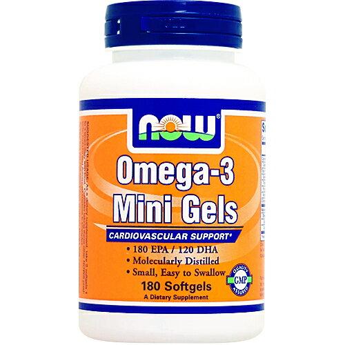 オメガ3 ミニジェル 180粒 [ダイエット・健康/サプリメント/健康サプリ/DHA・EPA配合/NOW]