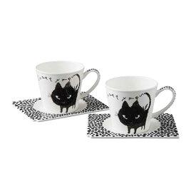 小倉陶器 Shinzi katoh Quiqui Black Nekoブラック ネコ ペア碗皿