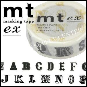 【ネコポス可能】カモ井 マスキングテープ mt ex(アルファベットR・黒)<15mm幅> MTEX1P39