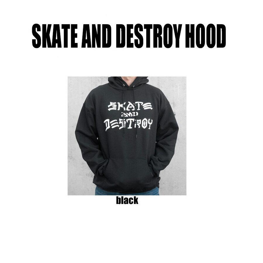 【送料無料!即納】Thrasher Skate and Destroy Hoodyスラッシャー スケートアンドデストロイ パーカーアメリカ製 本物 Internationalモデル【あす楽対応_関東】