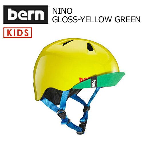 〔あす楽対応〕【送料無料】bern,バーン,子供用,ヘルメット,スケボー,スノボー,自転車,ジャパンフィット●NINO GLOSS-YELLOW GREEN VISOR付 VJBGYLV