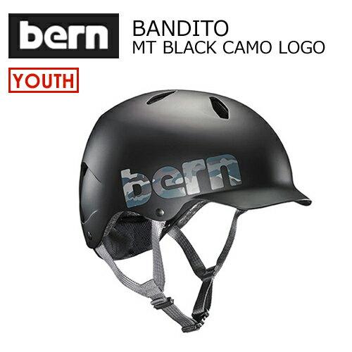 〔あす楽対応〕【送料無料】bern,バーン,子供用,ヘルメット,スケボー,スノボー,自転車,ジャパンフィット●BANDITO MT BLACK CAMO LOGO BB03EMBCA