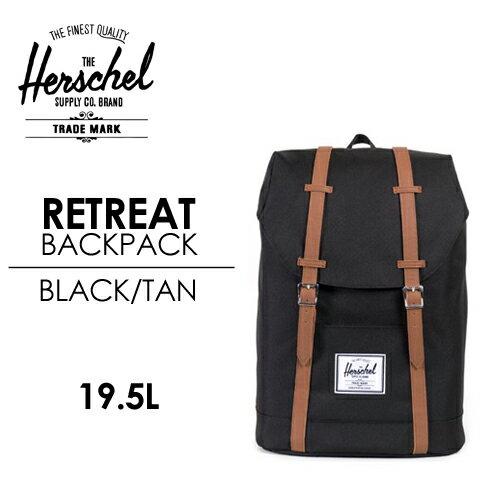 〔あす楽対応〕【送料無料】Herschel Supply,ハーシェルサプライ,バッグ,バックパック,リュック●RETREAT BACKPACK BLACK/TAN