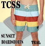 TCSS/TheCriticalSlideSocietySUNSETTRUNKTEAL水陸両用ハイブリッドタイプ_サーフィン男性用水着_海パン/海水パンツメンズサーフパンツザクリティカルスライドソサイエティ