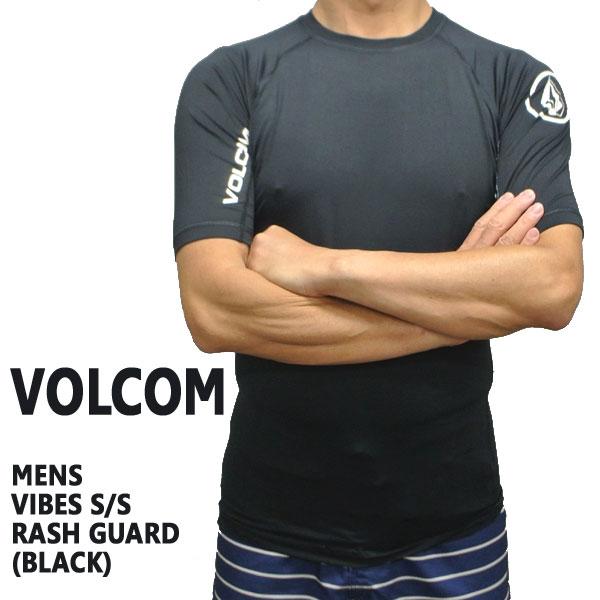 値下げしました!VOLCOM/ボルコム メンズ半袖ラッシュガード VIBES S/S BLACK RASHGUARD DSRUPF50+ 男性用水着 UVカット 111701