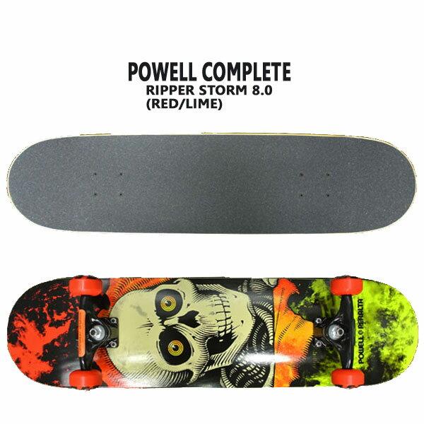 POWELL PERALTA/パウエルペラルタ コンプリートスケートボード RIPPER STORM RED/LIME 8.0 スケボー 完成品 SK8