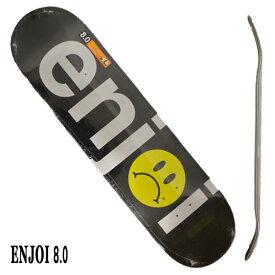 ENJOI/エンジョイ FROWNY FACE NO BRAINER HYB BLACK/SILVER 8.0 DECK SK8 スケートボード/スケボーデッキ