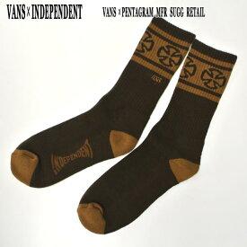 VANS/バンズ × INDEPENDENT/インデペンデント コラボ メンズ ソックス CREW SOCK BROWN スケーターソックス 男性靴下 メンズ ソックス