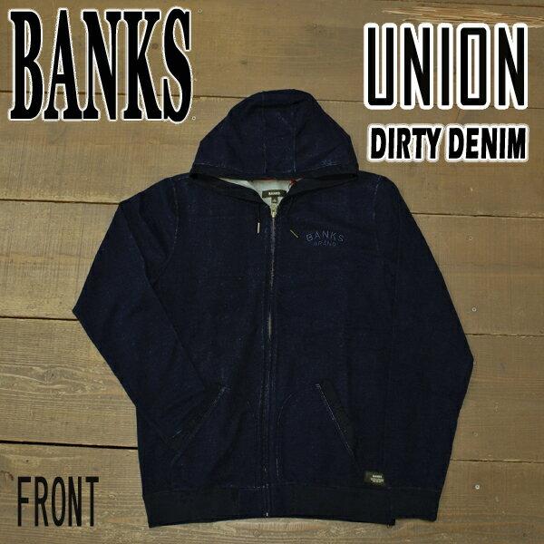 値下げしました!BANKS/バンクス UNION FLEECE ジップアップパーカー DIRTY DENIM メンズ 男性用 スウェット パーカー