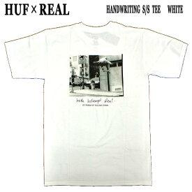 値下げしました!HUF/ハフ × REAL/リアル コラボ HANDWRITING S/S TEE WHITE メンズ Tシャツ 男性用 T-shirts 半袖 丸首 MENS