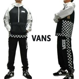 VANS/バンズ BMX OFF THE WALL ANORAK/TRACK PANT BLACK/WHITE セットアップ MENS メンズ アノラック プルオーバー 上下セット [返品、交換及びキャンセル不可]