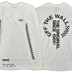 VANS/バンズ OTW DISTORT L/S TEE WHITE 長袖TEE MENS メンズ 男性用 プリントTEE 袖チェッカープリント
