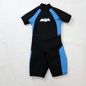AQA キッズスーツスプリングII ウェットスーツ KW-4504A ブラック×ライトブルー
