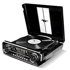 【お取り寄せ】IONAudioレコードプレーヤー1965年製フォードマスタングデザイン4種再生可能【レコード、ラジオ、USB、外部入力】MustangLPブラック