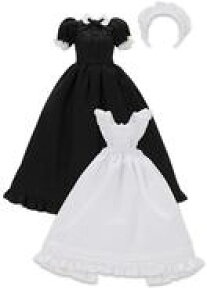 【新品】ドールアクセサリー 1/6 PNS用 クラシカルロングメイド服(半袖)セット(ブラック)
