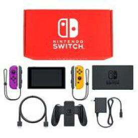 【中古】ニンテンドースイッチハード Nintendo Switch本体 カラーカスタマイズ /Joy-Con(L)ネオンパープル(R)ネオンイエロー/Joy-Conストラップ:ブラック(状態:セーフティガイド欠品)