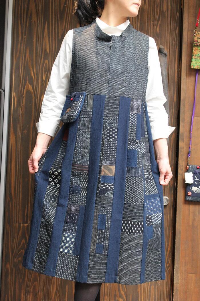 古布の久留米絣ジャンバースカート 日本製 一点もの フリーサイズ 和 綿100% 春夏秋冬 藍染 絣 古布