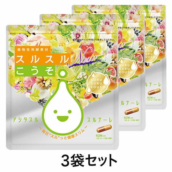 酵素 サプリ スルスルこうそ【メール便・送料無料】ケース付スルスルこうそ3点セット ダイエット サプリメント 乳酸菌 サプリメント ダイエットサプリ 日本製