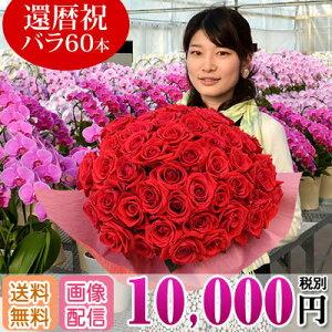 バラの花束 60本 還暦祝い 10,000円(税別) ...